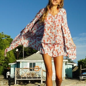 Bed-to-Beach Top: FLAMBOYANT FLOWER - ORANGE