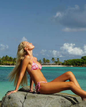 Womens Triangle Bikini : BANANA TREE - RED Mustique holiday style by Lotty B for Pink House Mustique