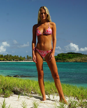 Womens Triangle Bikini : BANANA TREE - RED Beautiful swimwear designed in the Caribbean by Lotty B Mustique