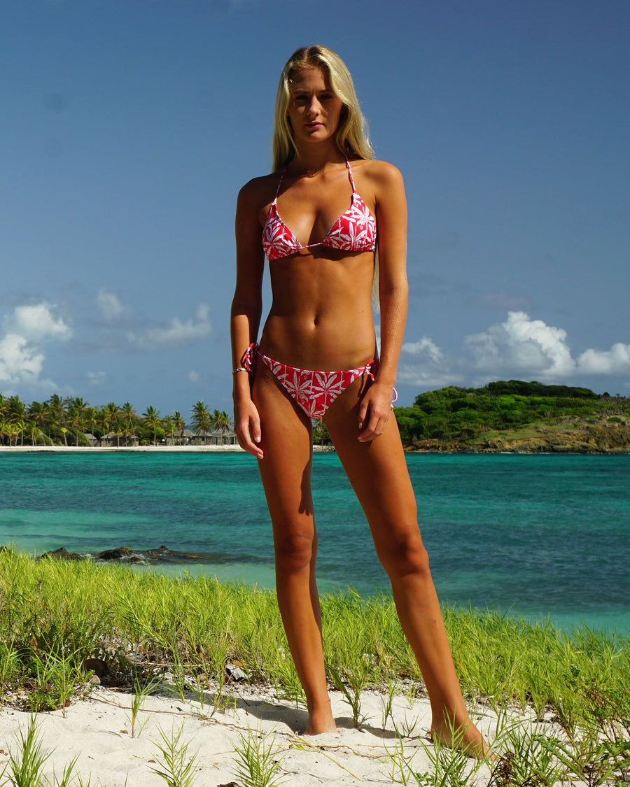 Womens Triangle Bikini : BANANA TREE - RED Caribbean Resort Wear designed by Lotty B Mustique
