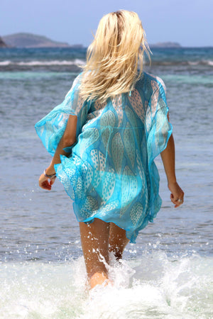 Womens chiffon silk short kaftan in leaves blue luxury beach wear by Lotty B Mustique