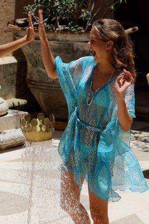 Womens chiffon silk short kaftan in leaves blue by Lotty B Mustique