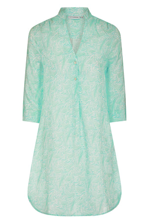 Decima flared pure linen dress in Whale turquoise print by Lotty B for Pink House Mustique