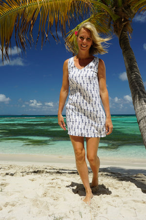Womens Linen Slip Dress: GECKO - NAVY Pink House Mustique resort wear designer Lotty B
