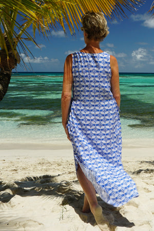 Womens Linen Sun Dress, Guava blue print by Lotty B Mustique comfortable style