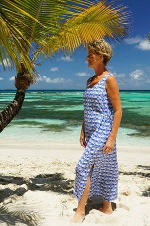 Womens Linen Sun Dress, Guava blue print by Lotty B Mustique long beach dress