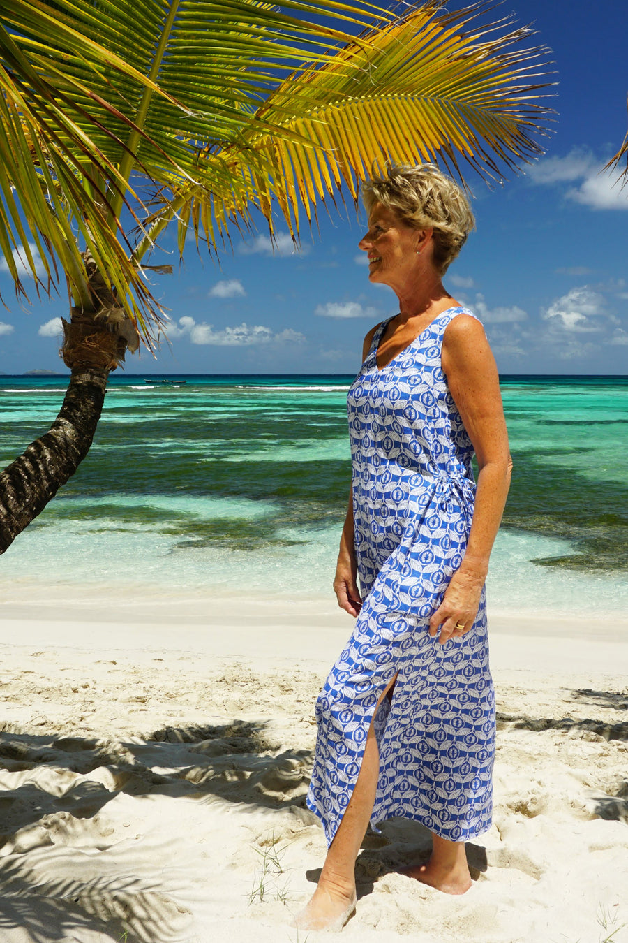 Womens Linen Sun Dress, Guava blue print by Lotty B Mustique holiday dress