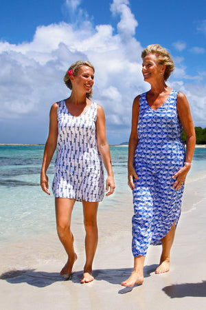 Womens Linen Sun Dress, Guava blue print by Lotty B Mustique family beach walks