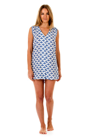 Womens Linen Beach Dress: MANTA RAY - NAVY front