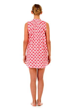 Womens Linen Beach Dress: MANTA RAY - RED Back