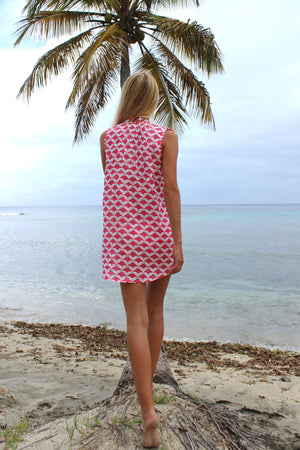 Womens Linen Beach Dress: MANTA RAY - RED back Mustique beach