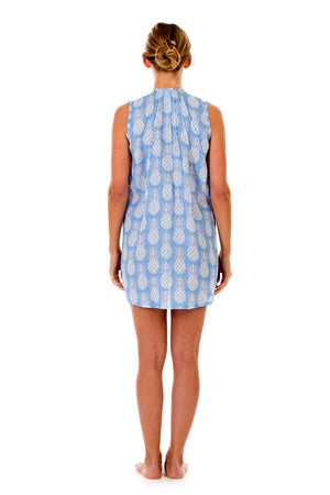 Womens Linen Beach Dress: PINEAPPLE - BLUE back