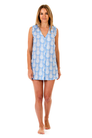 Womens Linen Beach Dress: PINEAPPLE - BLUE Front