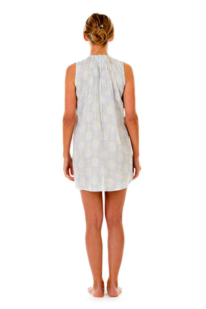 Womens Linen Beach Dress: PINEAPPLE - OLIVE Back