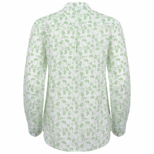 Womens Linen Blouse: FLAMBOYANT - GREEN back detail, designer Lotty B Mustique