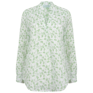 Womens Linen Blouse: FLAMBOYANT - GREEN designer Lotty B Mustique