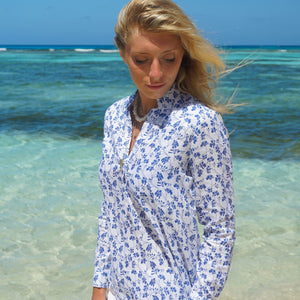 Womens Linen Blouse: FLAMBOYANT - NAVY BLUE designer Lotty B Mustique summer shirt