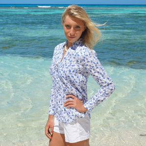 Womens Linen Blouse: FLAMBOYANT - NAVY BLUE designer Lotty B Mustique vacation style
