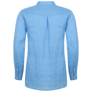 Womens Linen Blouse: FRENCH BLUE back