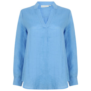 Womens Linen Blouse: FRENCH BLUE