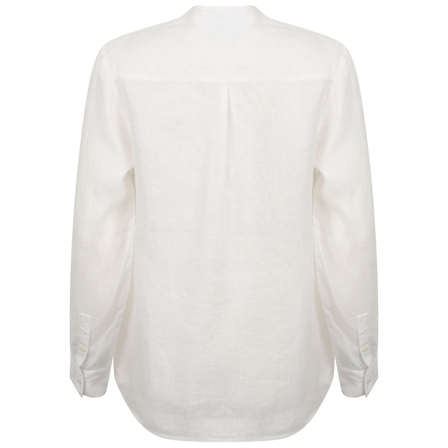 Womens Linen Blouse: CLASSIC WHITE
