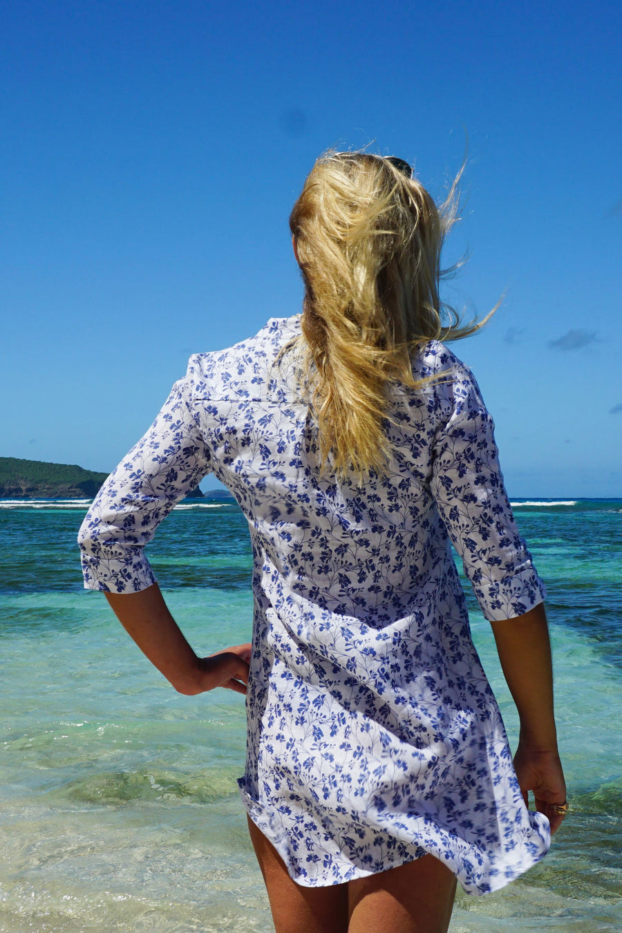 Womens Linen Flared Dress: FLAMBOYANT FLOWER - NAVY designer Lotty B Mustique vacation wear