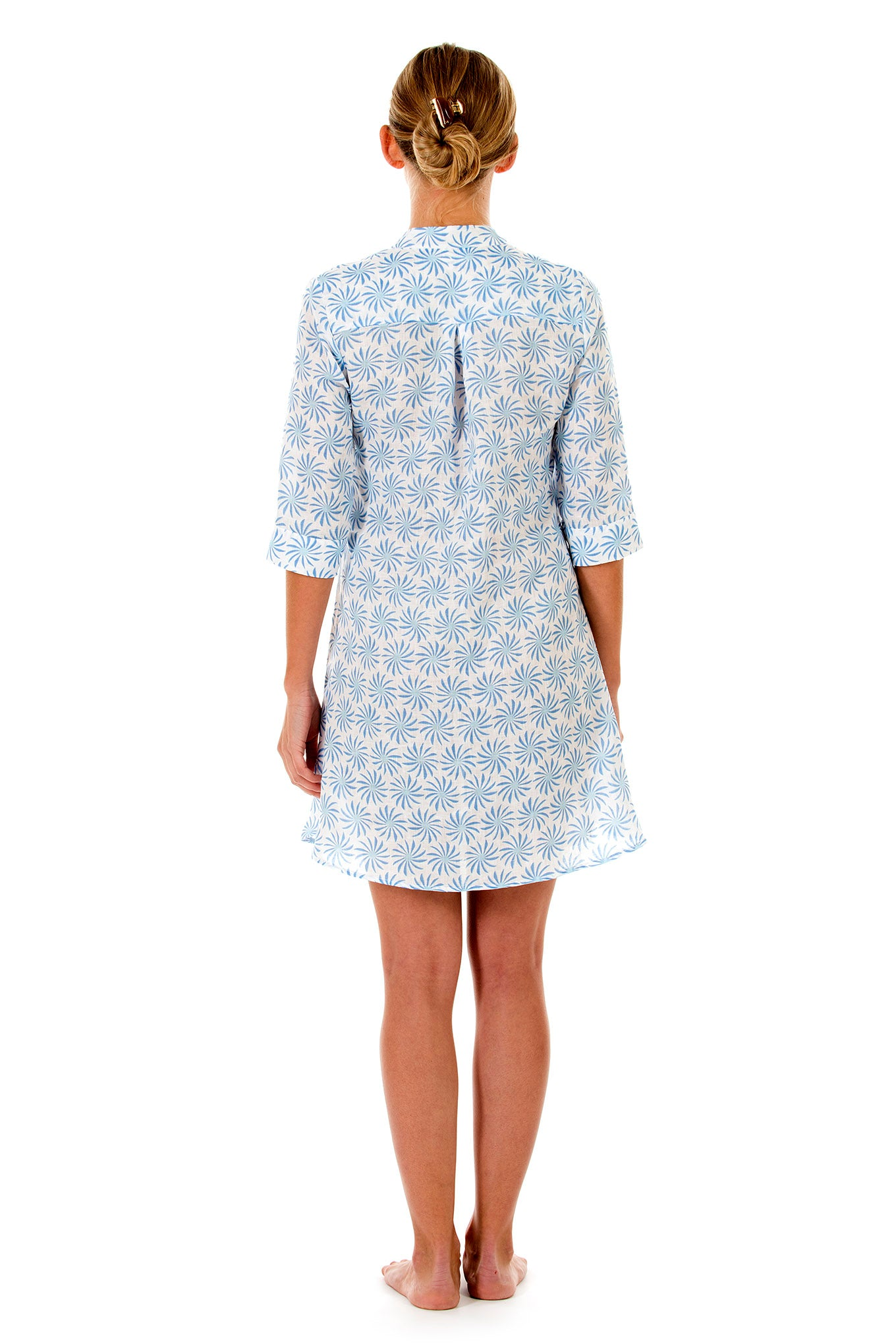 Womens Linen Flared Dress: CACTUS - BLUE back