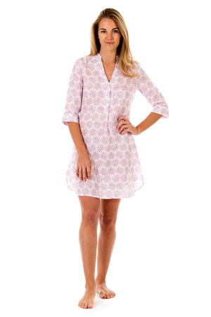 Womens Linen Flared Dress: CACTUS - PINK front