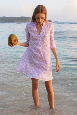 Womens Linen Flared Dress: CACTUS - PINK Mustique Lagoon Violet coconut