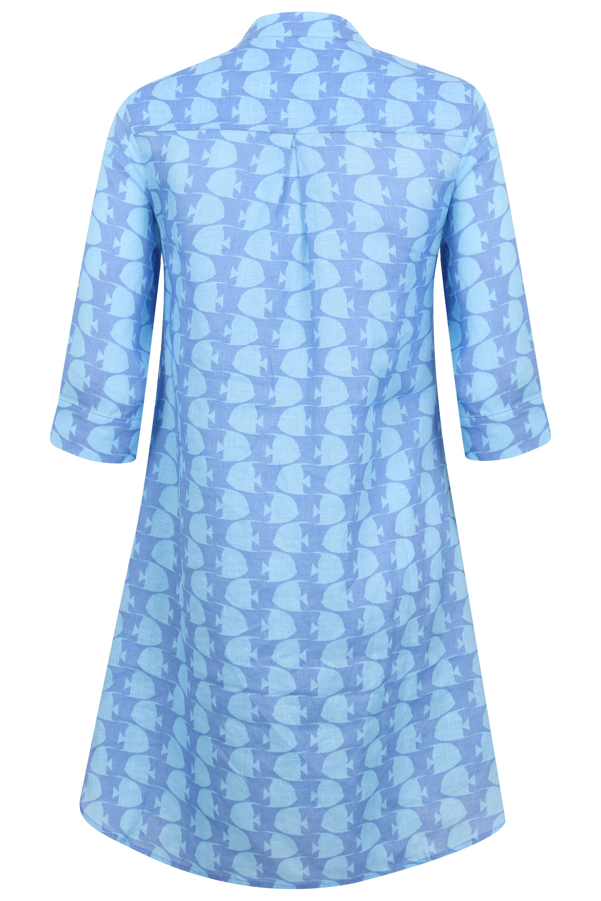 0179b95f65 ... designer vacation wear by Lotty B Mustique. Womens Linen Flared Dress:  FISH - TURQUOISE back