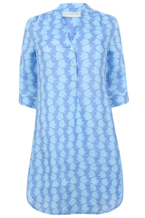 Womens Linen Flared Dress: FISH - TURQUOISE designer beach wear by Lotty B Mustique