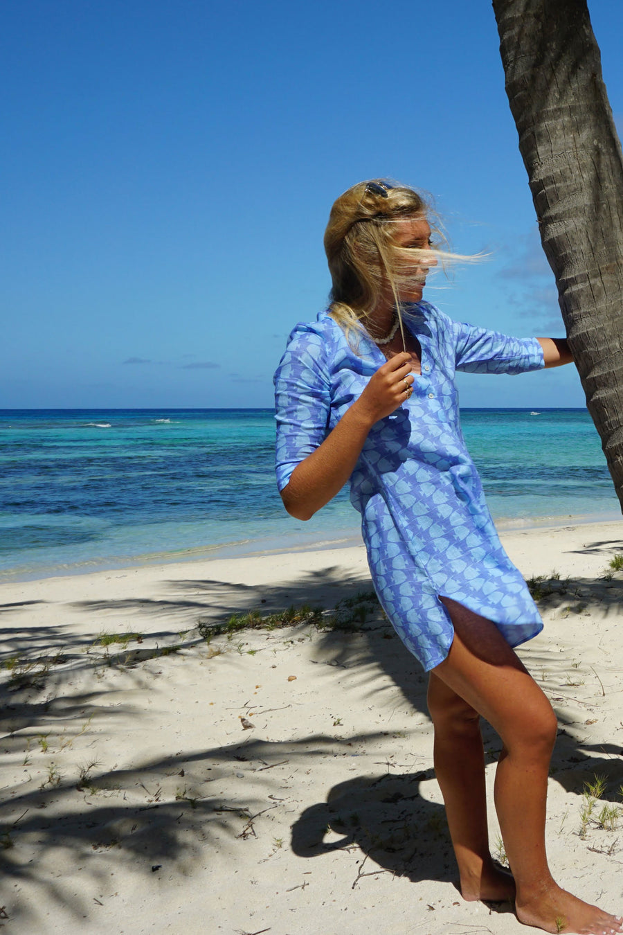 Womens Linen Flared Dress: FISH - TURQUOISE designer holiday wear by Lotty B Mustique