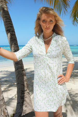 Womens Linen Flared Dress: FLAMBOYANT FLOWER - GREEN designer Lotty B Mustique vacation style