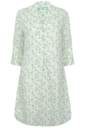 Womens Linen Flared Dress: FLAMBOYANT FLOWER - GREEN designer Lotty B Mustique