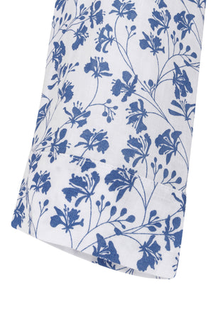 Womens Linen Flared Dress: FLAMBOYANT FLOWER - NAVY cuff detail, designer Lotty B Mustique