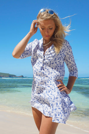 Womens Linen Flared Dress: FLAMBOYANT FLOWER - NAVY designer Lotty B Mustique holiday dress