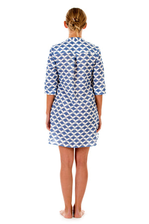 Womens Linen Flared Dress: MANTA RAY - NAVY
