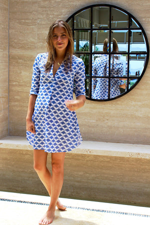 Womens Linen Flared Dress: MANTA RAY - NAVY Mustique life