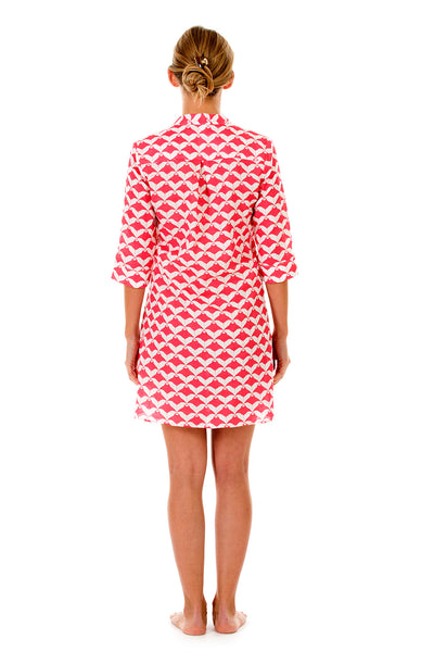 Womens Linen Flared Dress: MANTA RAY - RED back