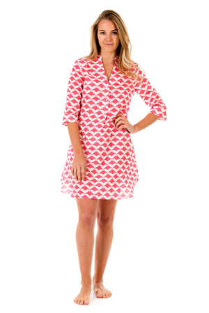 Womens Linen Flared Dress: MANTA RAY - RED front
