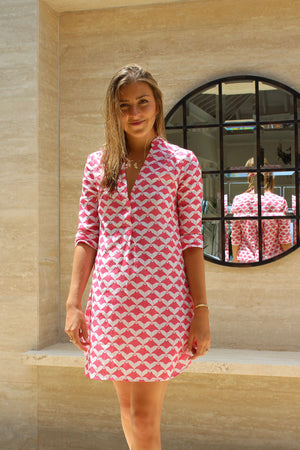 Womens Linen Flared Dress: MANTA RAY - RED Mustique life