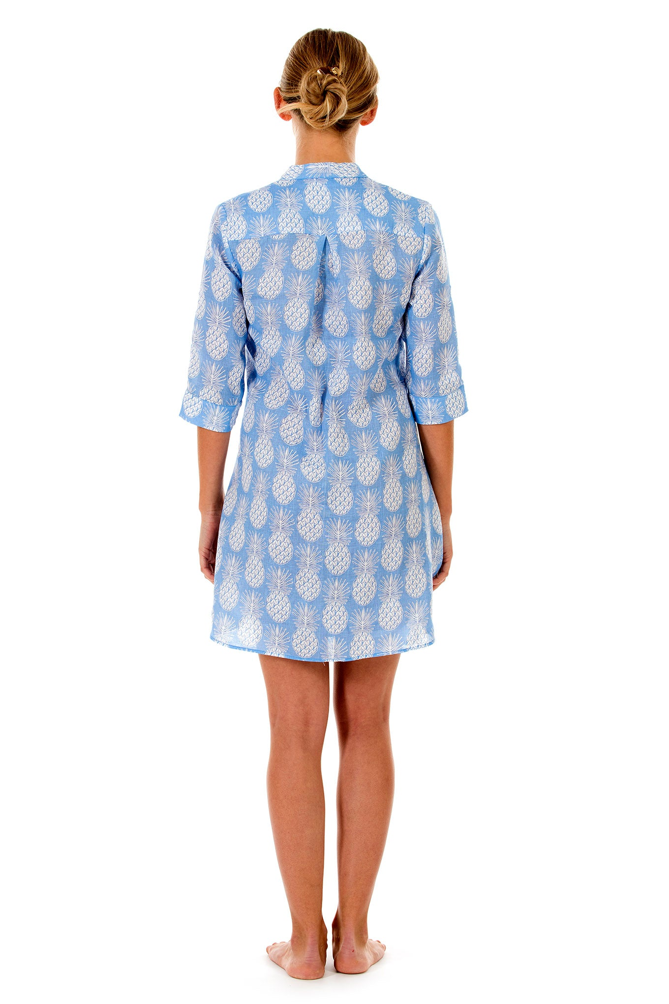 Womens Linen Flared Dress: PINEAPPLE BLUE back