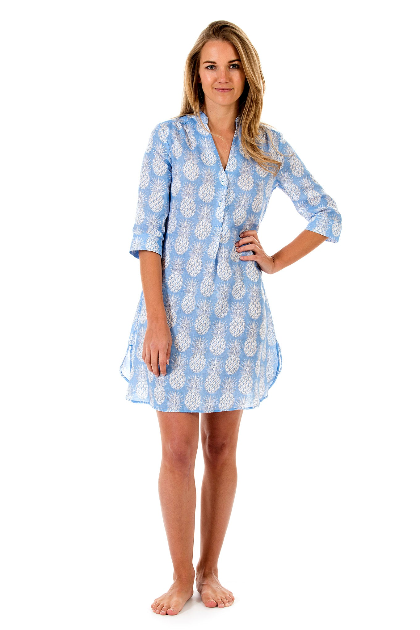 Womens Linen Flared Dress: PINEAPPLE BLUE front
