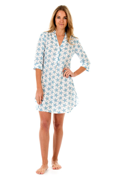 Womens Linen Flared Dress: SEASTAR - BLUE front