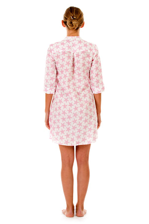 Womens Linen Flared Dress: SEASTAR - PINK back