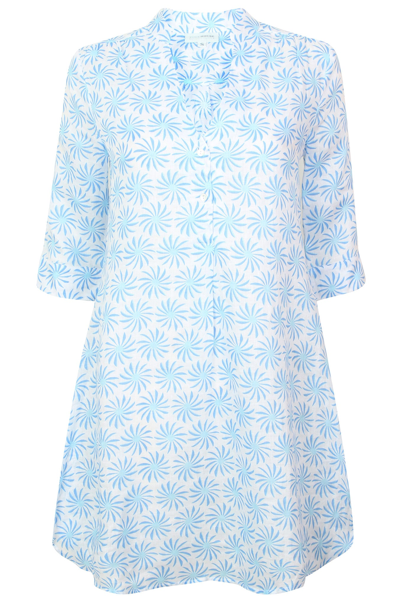 Womens Linen Flared Dress: CACTUS - BLUE