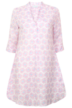 Womens Linen Flared Dress: CACTUS - PINK