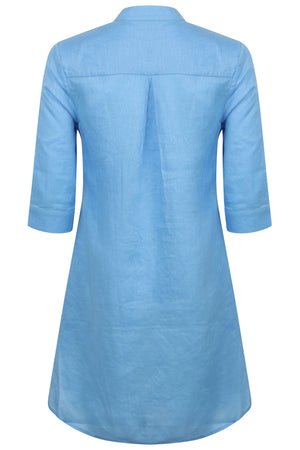 Womens Linen Flared Dress: FRENCH BLUE back