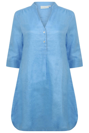 Womens Linen Flared Dress: FRENCH BLUE front