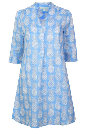 Womens Linen Flared Dress: PINEAPPLE - BLUE